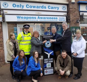 Caroline Shearer with Deputy PCC Lindsay Whitehouse, Chief Insp Russ Cole and others at the Clacton launch